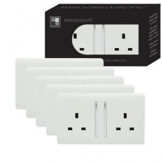 Trendi 2 Gang Artistic Modern Glossy 13 Amp Switched Tactile Plug Socket White Trade Pack (x5)